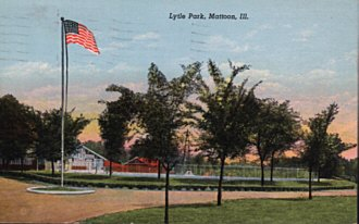 Mattoon IL postcard of Lyle Park dated 1953