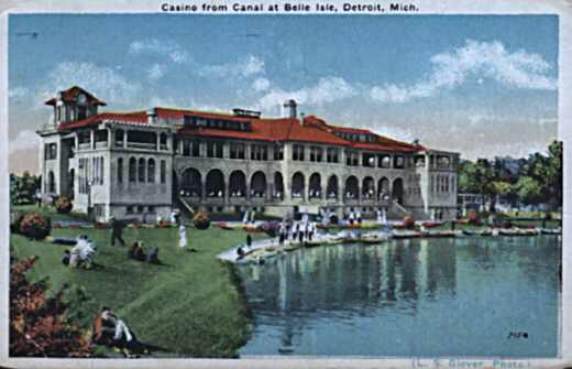 Michigan Casino from Canal Detroit postcard photo