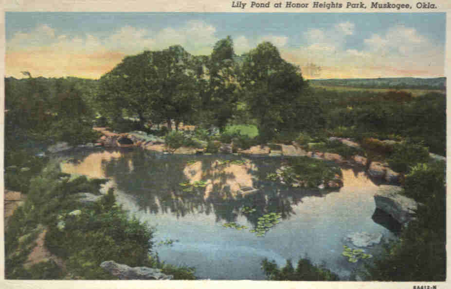 Muskogee Oklahoma post card with Lily Pond