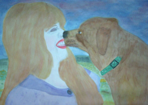 Painting of Little Red Dog Nellie and buddy
